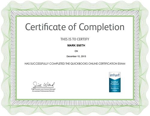 QuickBooks Online Cerification Exam Certificate