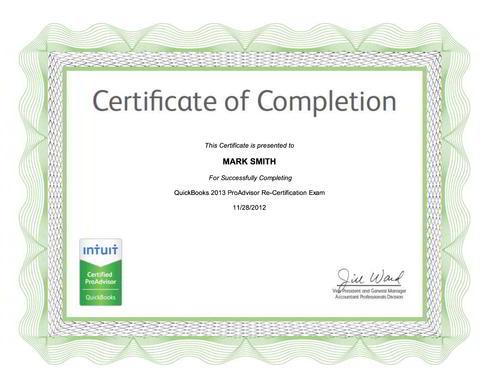 QuickBooks 2013 ProAdvisor Certificate