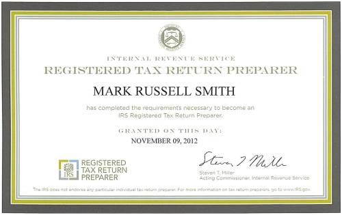 Mark Smith's Registered Tax Return Preparer Certificate
