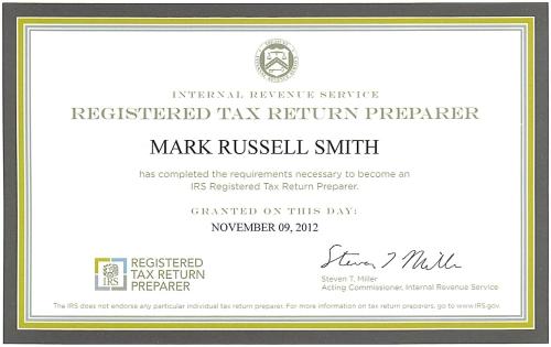 mark smith is now a registered tax return preparer | chandler, az
